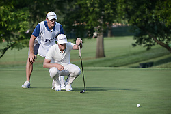 August 10, 2018 - Town And Country, Missouri, U.S - RYAN VERMMER from Omaha Nebraska, USA  and his caddy line up the putt on hole number four during round two of the 100th PGA Championship on Friday, August 10, 2018, held at Bellerive Country Club in Town and Country, MO (Photo credit Richard Ulreich / ZUMA Press) (Credit Image: © Richard Ulreich via ZUMA Wire)