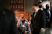 26 MARCH 2021 - URBANDALE, IOWA: MIKE POMPEO, former Secretary of State during the Trump Administration, greets people  as he walks into the Machine Shed Restaurant. Pompeo, who served as the Director of the CIA and Secretary of State in the Trump Administration, spoke to about 200 people during the Westside Conservative Club meeting at the Machine Shed Restaurant in Urbandale, IA, Friday morning. Pompeo, who is often mentioned as a possible Republican presidential candidate in 2024, did not talk about any plans to run for President, spending most of the time talking about what he thought were the foreign policy accomplishment of the Trump Administration and encouraging Republicans to tighten voting rules.     PHOTO BY JACK KURTZ