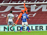 Football - 2019 / 2020 Championship - Cardiff City vs Blackburn Rovers<br /> <br /> Christian Walton of Blackburn Rovers saves in the 90th minute<br /> in a match played with no crowd due to Covid 19 coronavirus emergency regulations, at the almost empty Liberty Stadium.<br /> <br /> COLORSPORT/WINSTON BYNORTH