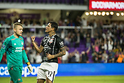 01/10/2018. Orlando, USA.  <br /> <br /> CORINTHIANS SP V PSV EINDHOVEN 2018 Florida Cup.<br /> <br /> CORINTHIANS No 17 Giovanni Augusto  celebrates after he scores the wining penalty after the game finished 1-1  Corinthians win 5-4 on Penalties DURING THE FIRST MATCH OF THE 2018 FLORIDA CUP BETWEEN CORINTHIANS AND PSV EINDHOVEN. <br /> <br /> At  ORLANDO CITY STADIUM, Orlando.<br /> Pic: Mark Davison /PLPA