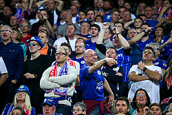 Away fans celebrate after Kasper Schmeichel of Leicester City saves a penalty from Joaquin Correa of Sevilla - Rogan Thomson/JMP - 22/02/2017 - FOOTBALL - Estadio Ramon Sanchez Pizjuan - Seville, Spain - Sevilla FC v Leicester City - UEFA Champions League Round of 16, 1st Leg.
