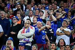 Away fans celebrate after Kasper Schmeichel of Leicester City saves a penalty from Joaquin Correa of Sevilla - Rogan Thomson/JMP - 22/02/2017 - FOOTBALL - Estadio Ramon Sanchez Pizjuan - Seville, Spain - Sevilla FC v Leicester City - UEFA Champions League Round of 16, 1st Leg.