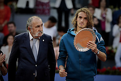 May 12, 2019 - Madrid, Madrid, Spain - Stefanos Tsitsipas from Greece seen during the Mutua Madrid Open Masters final match against Novak Djokovic from Serbia on day eight at Caja Magica in Madrid..Novak Djokovic beats Stefanos Tsitsipas. (Credit Image: © Legan P. Mace/SOPA Images via ZUMA Wire)