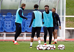 England's Callum Hudson-Odoi (second right) during the training session at St George's Park, Burton.