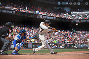 San Francisco Giants second baseman Kelby Tomlinson (37) bats against the Los Angeles Dodgers at AT&T Park in San Francisco, California, on April 27, 2017. (Stan Olszewski/Special to S.F. Examiner)