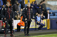Eddie Howe, the Bournemouth manager looking on from the touchline. The Emirates FA Cup 3rd round match, Millwall v AFC Bournemouth at The Den in London on Saturday 7th January 2017.<br /> pic by John Patrick Fletcher, Andrew Orchard sports photography.