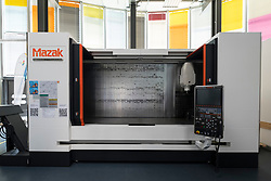 Large modern computer operated milling machine by Mazak on display at Adlershof Science and Technology Park in Berlin, Germany