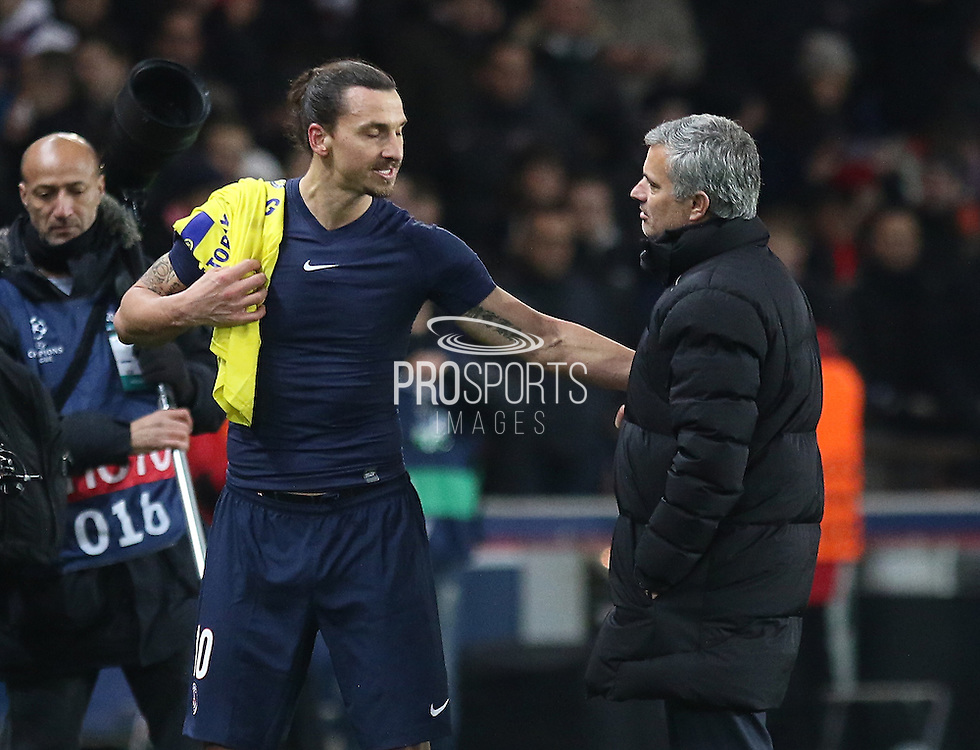 Paris Saint-Germain Zlatan Ibrahimović (vice captain) and Chelsea Manager Jose Mourinho after the Champions League match between Paris Saint-Germain and Chelsea at Parc des Princes, Paris, France on 17 February 2015. Photo by Phil Duncan.