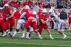 NORMAL, IL - September 04: Cole Mueller gets a crucial block from Cole Anderson to allow him to escape the line during a college football game between the Bulldogs of Butler University and the ISU (Illinois State University) Redbirds on September 04 2021 at Hancock Stadium in Normal, IL. (Photo by Alan Look)