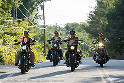 Iron Lilies Dana Cooley (L), Leticia Cline (R), Lilly James (back left) and Kissa Von Addams (back rt) out riding during Laconia Motorcycle Week 2016. NH, USA. Sunday, June 19, 2016.  Photography ©2016 Michael Lichter.