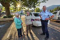Mitta Mitta, one policeman town. Following the working life of Leading Senior Constable John Kissane. Kissane is thanked by Florence Thompson and June Franks who were out hiking when another woman hiker fell 70 meters down a steep slope. Kissane used the electric winch on his four wheel drive to rescue the woman. Pic By Craig Sillitoe CSZ/The Sunday Age.27/03/2012 This photograph can be used for non commercial uses with attribution. Credit: Craig Sillitoe Photography / http://www.csillitoe.com<br /> <br /> It is protected under the Creative Commons Attribution-NonCommercial-ShareAlike 4.0 International License. To view a copy of this license, visit http://creativecommons.org/licenses/by-nc-sa/4.0/.