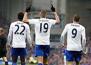 Islam Slimani of Leicester City celebrates his goal during the English Premier League match at Goodison Park Stadium, Liverpool. Picture date: April 9th 2017. Pic credit should read: Simon Bellis/Sportimage