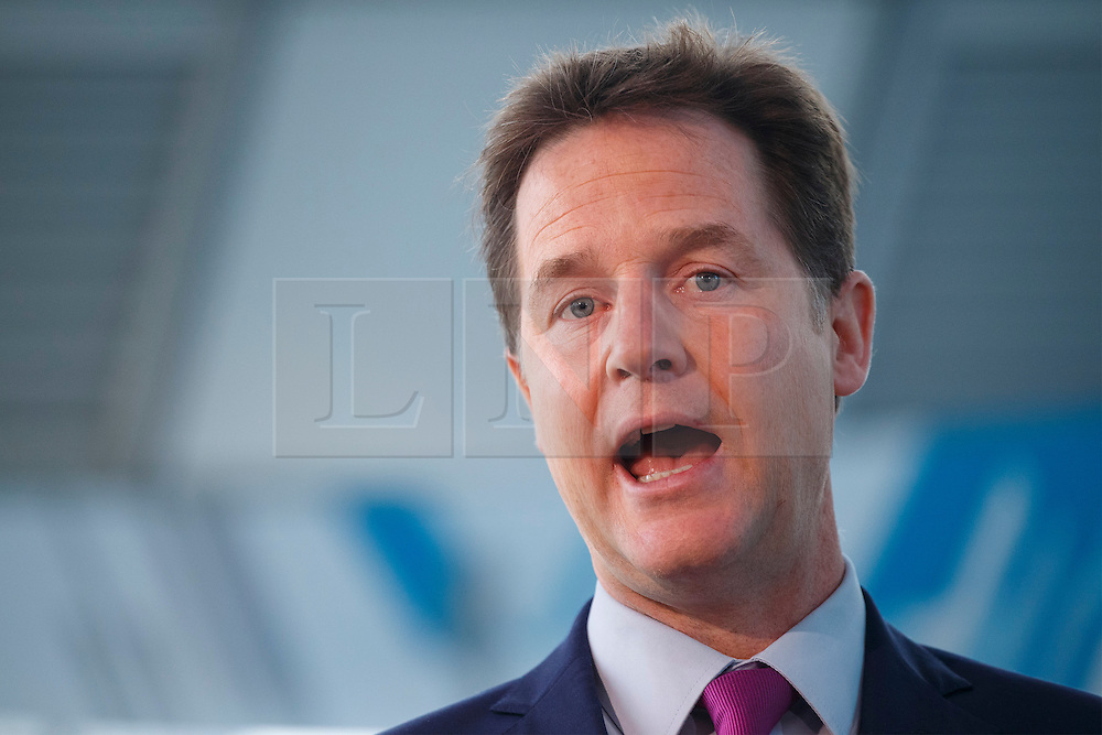 © Licensed to London News Pictures. 09/03/2015. LONDON, UK. Deputy Prime Minister Nick Clegg and Business Secretary Vince Cable set out Liberal Democrat party's plans to build a stronger economy, with a target of making the UK the largest economy in Europe at The Crystal in east London on Monday, 9 March 2015. Photo credit : Tolga Akmen/LNP