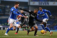 Kemar Roofe of Leeds United  Ipswich Town defender Luke Chambers (4) Ipswich Town defender Dominic Iorfa (2) battles for possession during the EFL Sky Bet Championship match between Ipswich Town and Leeds United at Portman Road, Ipswich, England on 13 January 2018. Photo by Phil Chaplin.