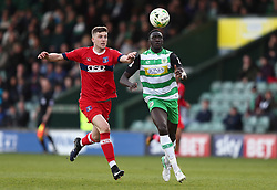 Bevis Mugabi of Yeovil Town battles for the ball with George Waring of Carlisle United - Mandatory by-line: Gary Day/JMP - 01/04/2017 - FOOTBALL - Huish Park - Yeovil, England - Yeovil Town v Carlisle United - Sky Bet League Two