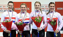 Team Breeze (left-right) Jessica Roberts, Rebecca Raybould, Abigail Dentus and Jenny Holl after winning the Team Pursuit Final, during day two of the HSBC UK National Track Championships at The National Cycling Centre, Manchester.