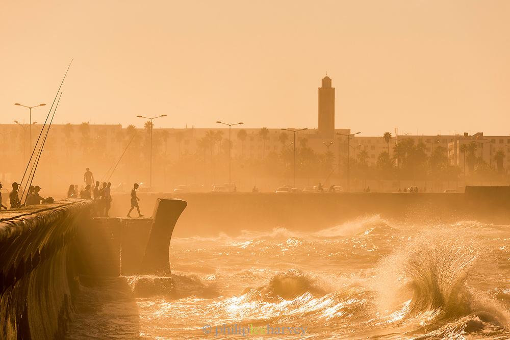 Waves splashing on corniche in Casablanca, Morocco