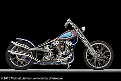 """""""The Graped Ape"""", a custom knucklehead with a 1964 paint job built by Ryan Grossman of Vintage Dreams in Martinez, CA. Photographed by Michael Lichter during the Easyriders Bike Show in Sacramento, CA on January 8, 2016. ©2016 Michael Lichter."""
