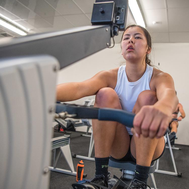 Marion Hardwick, Avon Rowing Club<br /> <br /> SRPC squad ergometer training at HPSNZ Apollo Sports Centre, Christchurch. Tuesday 20 November 2018 © Copyright photo Steve McArthur / @RowingCelebration
