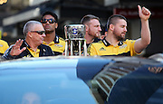 Hurricanes coach Chris Boyd & Captain Dane Coles during the Victory Parade for the Super Rugby Championship winning Hurricanes. Wellington, New Zealand. 10th August 2016. © Copyright Photo: Grant Down / www.photosport.nz