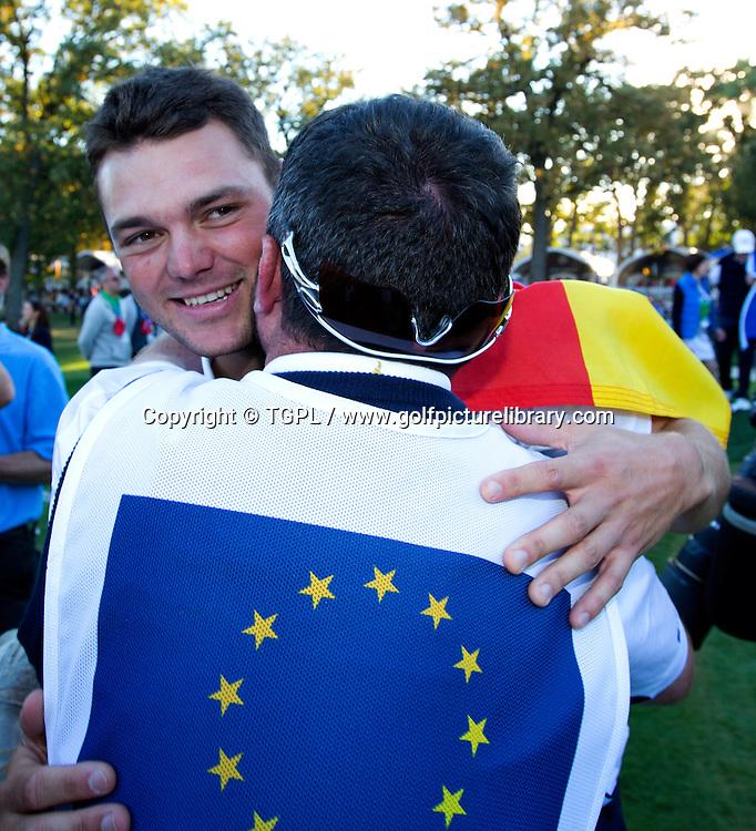Martin KAYMER (EUR) celebrates victory during final day Singles,Ryder Cup Matches,Medinah CC,<br /> Medinah,Illinois,USA.