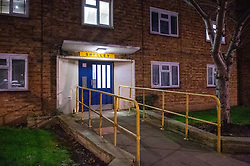 © Licensed to London News Pictures. 09/12/2019. London, UK. An Entrance to Shelley House on Boyton Road where a man was fatally stabbed. Metropolitan Police were called by the London Ambulance Service at 18:04GMT on Monday, 9 December to a residential address in Shelley House, Boyton Road N8, following reports of a fight and a man having been stabbed. A man, aged in his 40s, was found suffering from a stab injury. He was pronounced dead at the scene. Photo credit: Peter Manning/LNP