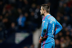 Lukasz Fabianski of Swansea City looks dejected after conceding a goal from Brown Ideye of West Brom - Photo mandatory by-line: Rogan Thomson/JMP - 07966 386802 - 11/02/2015 - SPORT - FOOTBALL - West Bromwich, England - The Hawthorns - West Bromwich Albion v Swansea City - Barclays Premier League.