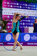 Adilkhanova Alina during qualifying at hoop in Pesaro World Cup at Adriatic Arena on April 13, 2018. Alina is a Kazakhstan rhythmic gymnast born on September 26,2001 in Karaganda.