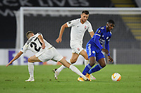 Football - 2020 / 2021 Europa League - Group F - Leicester City vs Zorya Luhansk - King Power Stadium<br /> <br /> Leicester City's Kelechi Iheanacho holds off the challenge from Zorya Luhansk's Yegor Nazaryna.<br /> <br /> COLORSPORT/ASHLEY WESTERN
