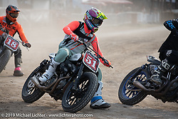 Hooligan flattracker (no. 51) Kole King on his Harley-Davidson Sportster racer in the Hooligan races on the temporary track in front of the Sturgis Buffalo Chip main stage during the Sturgis Black Hills Motorcycle Rally. SD, USA. Wednesday, August 7, 2019. Photography ©2019 Michael Lichter.