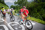 LE GRAND BORNAND, FRANCE - JULY 03 :  TEUNS Dylan (BEL) of BAHRAIN VICTORIOUS, WOODS Michael (CAN) of ISRAEL START-UP NATION during stage 8 of the 108th edition of the 2021 Tour de France cycling race, a stage of 150,8 kms between Oyonnax and Le Grand Bornand on July 3, 2021 in Le Grand Bornand, France, 3/07/2021