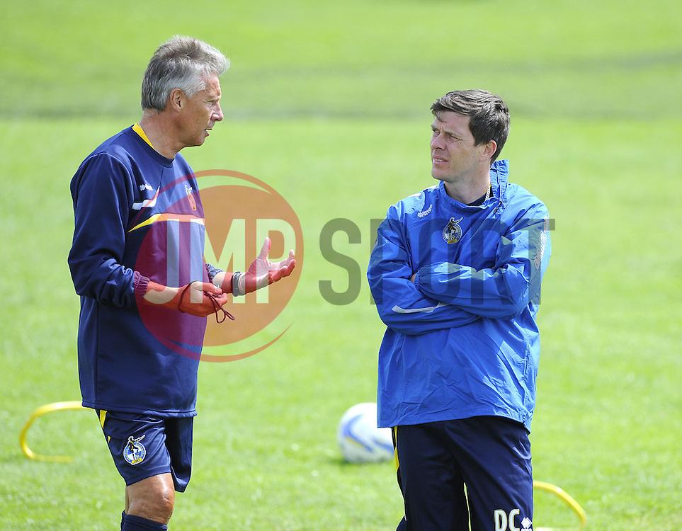 Bristol Rovers Manager, John Ward talks with Bristol Rovers assistant manager, Darrell Clarke - Photo mandatory by-line: Joe Meredith/JMP - Tel: Mobile: 07966 386802 24/06/2013 - SPORT - FOOTBALL - Bristol -  Bristol Rovers - Pre Season Training - Npower League Two