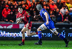 Scarlets' Paul Asquith makes a break<br /> <br /> Photographer Craig Thomas/Replay Images<br /> <br /> Guinness PRO14 Round 17 - Scarlets v Leinster - Friday 9th March 2018 - Parc Y Scarlets - Llanelli<br /> <br /> World Copyright © Replay Images . All rights reserved. info@replayimages.co.uk - http://replayimages.co.uk