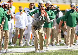 Oct 3, 2020; Morgantown, West Virginia, USA; Baylor Bears head coach Dave Aranda yells from the sidelines during the third quarter against the West Virginia Mountaineers at Mountaineer Field at Milan Puskar Stadium. Mandatory Credit: Ben Queen-USA TODAY Sports