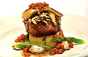 Fillet of beef with shitake Mushrooms, fondant potato, seared fois gras, tarragon and tomato essence<br /> The Killarney Park Hotel dining room<br /> Picture by Don MacMonagle -macmonagle.com