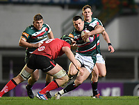 Rugby Union - 2020 / 2021 European Rugby Challenge Cup - Semi-final - Leicester vs Ulster - Welford Road<br /> <br /> Leicester Tigers' Matt Scott evades the tackle of Ulster Rugby's Matt Rea.<br /> <br /> COLORSPORT/ASHLEY WESTERN