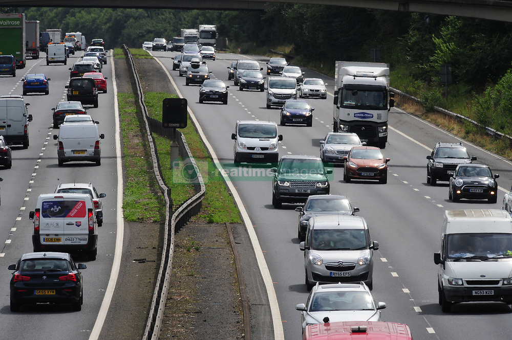 July 21, 2017 - M20 Near Maidstone, Kent, UK - Traffic on the right heading for London and M25..SUMMER HOLIDAY GETAWAY TRAFFIC ON THE M20 BETWEEN J4 AND J5..The summer holiday getaway begins as the schools break up for the summer. (Credit Image: © Grant Falvey/London News Pictures via ZUMA Wire)