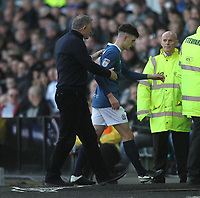 Blackburn Rovers John Buckley  is consolled by Blackburn Rovers Manager Tony Mowbray after being sent off<br /> <br /> Photographer Mick Walker/CameraSport<br /> <br /> The EFL Sky Bet Championship - Derby County v Blackburn Rovers - Sunday 8th March 2020  - Pride Park - Derby<br /> <br /> World Copyright © 2020 CameraSport. All rights reserved. 43 Linden Ave. Countesthorpe. Leicester. England. LE8 5PG - Tel: +44 (0) 116 277 4147 - admin@camerasport.com - www.camerasport.com