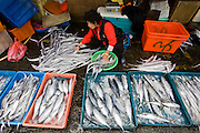 A woman sorts fish on the dock at the port of Suao, Taiwan.