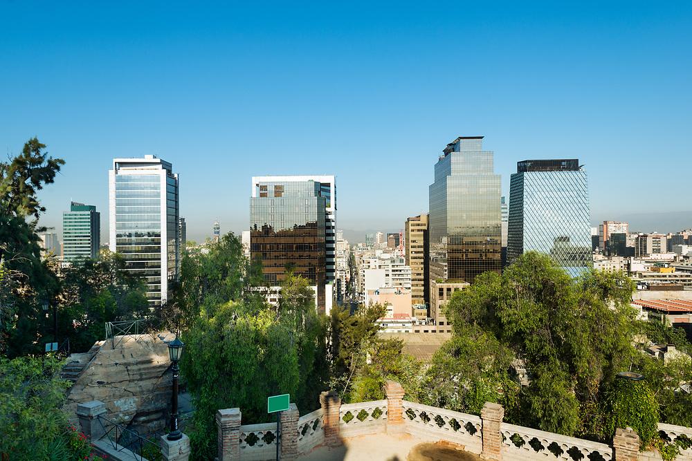Cityscape of downtown Santiago de Chile from Santa Lucia Hill