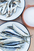 Close up of fresh anchovy fish on enamel plate and salt in bowl, Lesbos, Greece