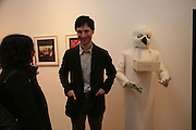 Francesca Gavin and Marcel Dzama. Exhibition of work by Marcel Dzama. Timothy Taylor Gallery.  Dering St. London. 7 March 2007.  -DO NOT ARCHIVE-© Copyright Photograph by Dafydd Jones. 248 Clapham Rd. London SW9 0PZ. Tel 0207 820 0771. www.dafjones.com.