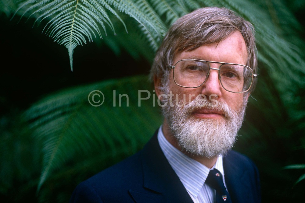 A portrait of botanist, Sir Ghillean Tolmie Prance while head of the Botanical Gardens at Kew in the summer of 1988, in Kews Palm House, London England. Prance worked from 1963 at The New York Botanical Garden, initially as a research assistant and, on his departure in 1988, as Director of the Institute of Economic Botany and Senior Vice-President for Science. Much of his career at the New York Botanical Garden was spent conducting extensive fieldwork in the Amazon region of Brazil. He was Director of the Royal Botanic Gardens, Kew from 1988 to 1999.