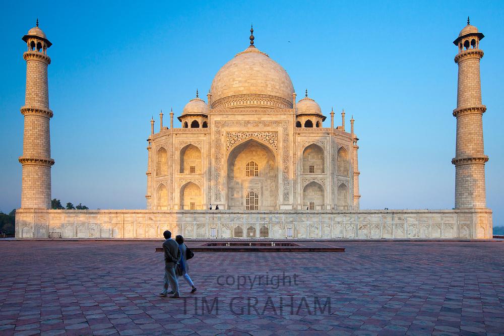 The Taj Mahal mausoleum eastern view, viewed from Taj Mahal Mosque in Agra, Uttar Pradesh, India