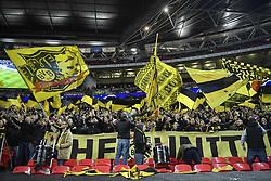 February 13, 2019 - London, England, United Kingdom - Fans of Borussia Dortmund   during the UEFA Champions League, Round of 16 1st leg, 13 match between Tottenham Hotspur FC and Borussia Dortmund, on 13 February 2019, at Wembley Stadium, in London, UK. (Credit Image: © Alex Nicodim/NurPhoto via ZUMA Press)