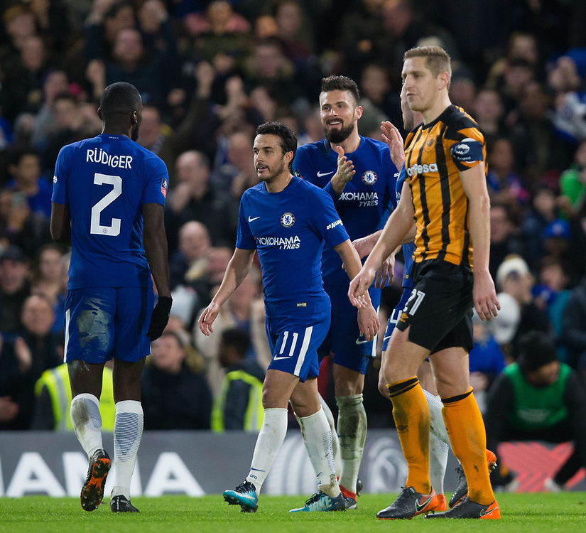 Chelsea's Olivier Giroud celebrates scoring his side's fourth goal with team mates <br /> <br /> Photographer Craig Mercer/CameraSport<br /> <br /> Emirates FA Cup Fifth Round - Chelsea v Hull City - Friday 16th February 2018 - Stamford Bridge - London<br />  <br /> World Copyright © 2018 CameraSport. All rights reserved. 43 Linden Ave. Countesthorpe. Leicester. England. LE8 5PG - Tel: +44 (0) 116 277 4147 - admin@camerasport.com - www.camerasport.com