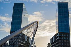 Feb. 21, 2014 - Bilbao, BASQUE COUNTRY, SPAIN - Zubizuri or Calatrava Bridge and Isozaki Atea Towers. Bilbao, Spain. (Credit Image: © Mikel Bilbao Gorostiaga/VW Pics/ZUMA Wire)