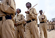 New Police officers practice for their passing out ceremony, Madhera, Self Declared Independent country of Somaliland