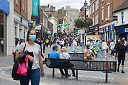 A shopper wears a face covering to help prevent the spread of the coronavirus on 26th August 2020 in Windsor, United Kingdom. Tessa Lindfield, the Director of Public Health for Berkshire, has urged residents of the Royal Borough of Windsor and Maidenhead to follow social distancing guidelines following a significant rise in the number of positive COVID-19 tests over the past week.