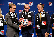 Music City soccer fans celebrate as MLS Commissioner Don Garber and lead owner John Ingram announce the decision to bring a new team and stadium to Nashville during a special event at the Country Music Hall of Fame and Museum on Dec. 20, 2017.